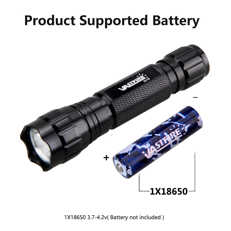 Купить с кэшбэком VASTFIRE 501B Hunting Flashlight 1 Mode 400 Yard 3 Light color Rechargeable 18650 battery+Tactical frame Tail switch