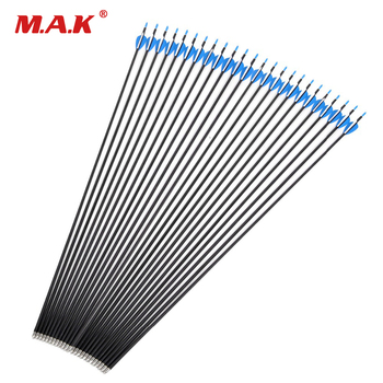 24 Pcs 32 inch Mixed Carbon Arrows Spine 1200 Diameter 5.65 mm for Compound/Recurve Bow Archery Hunting Shooting