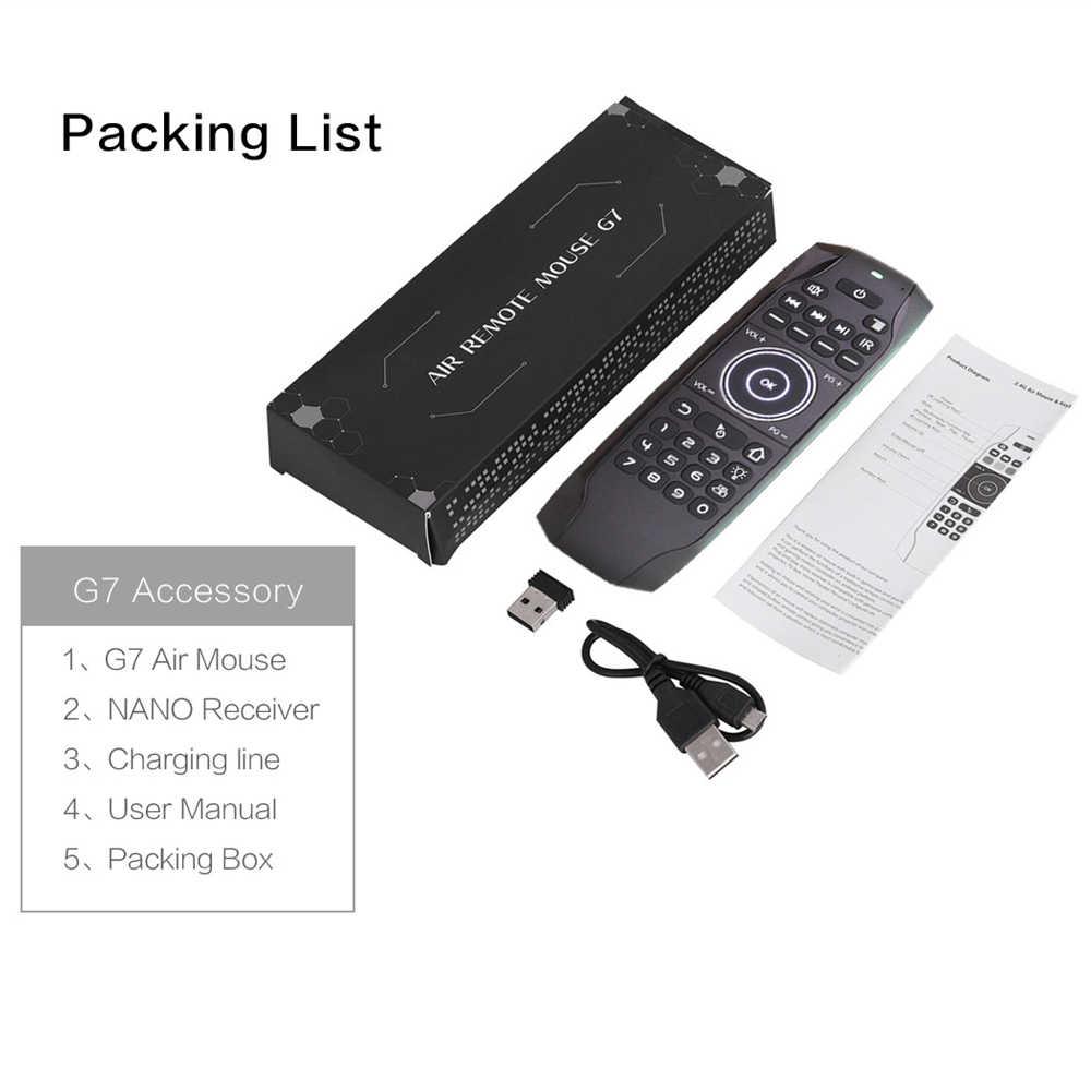 L8STAR G7, ratón aéreo con retroiluminación ruso con Mini teclado inalámbrico de aprendizaje IR, Control remoto Universal de 2,4G para caja de TV Android