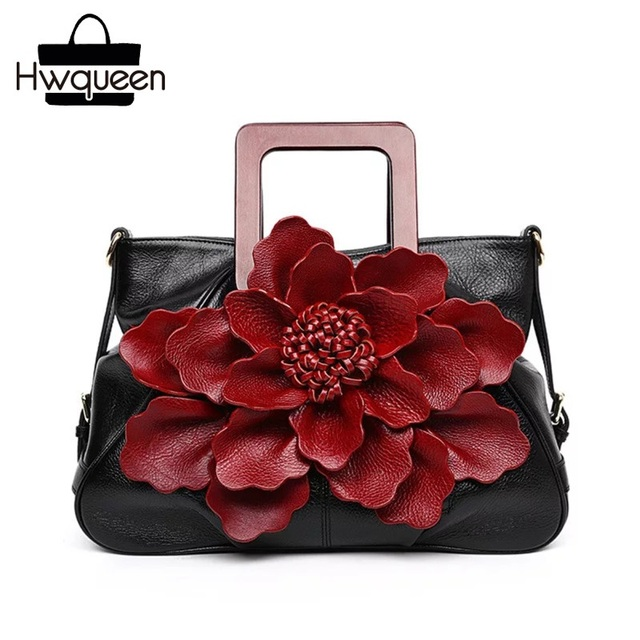 Chinese Style Red Flower Genuine Cow Leather Bride Wedding Purse Zipper Closure Women's Large Handbag Female Single Shoulder Bag