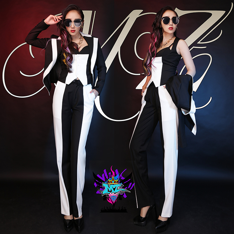 European and American atmospheric female singer DJ DS grade black and white stitching font b suit