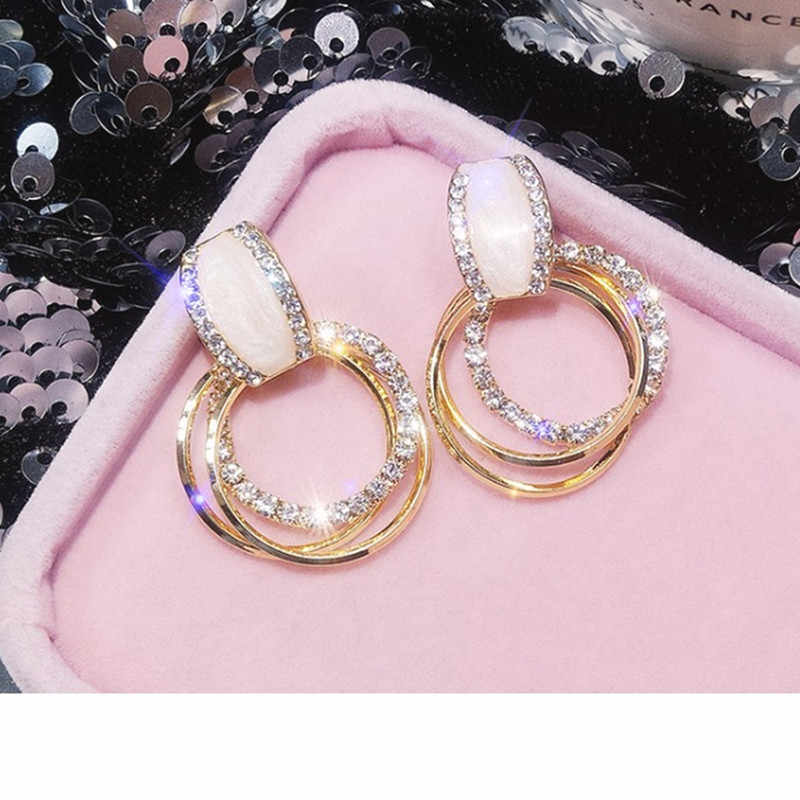 New design creative jewelry high-grade elegant crystal earrings round gold earrings wedding party earrings female models