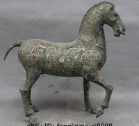 16 Chinese Dynasty Palace Pure Bronze Silver Gilt Pattern Sculpture Horse Statue