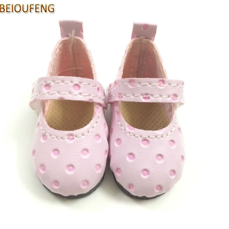 BEIOUFENG BJD Doll Footwear Sneakers Shoes 4.6CM BJD Shoes for Dolls,PU Leather Summer Shoes with Polka Dots Pattern 12 Pair/Lot beioufeng 3 8cm fashion doll shoes for blythe doll toy mini gym shoes sneakers for dolls bjd doll footwear sports shoes 6 pair