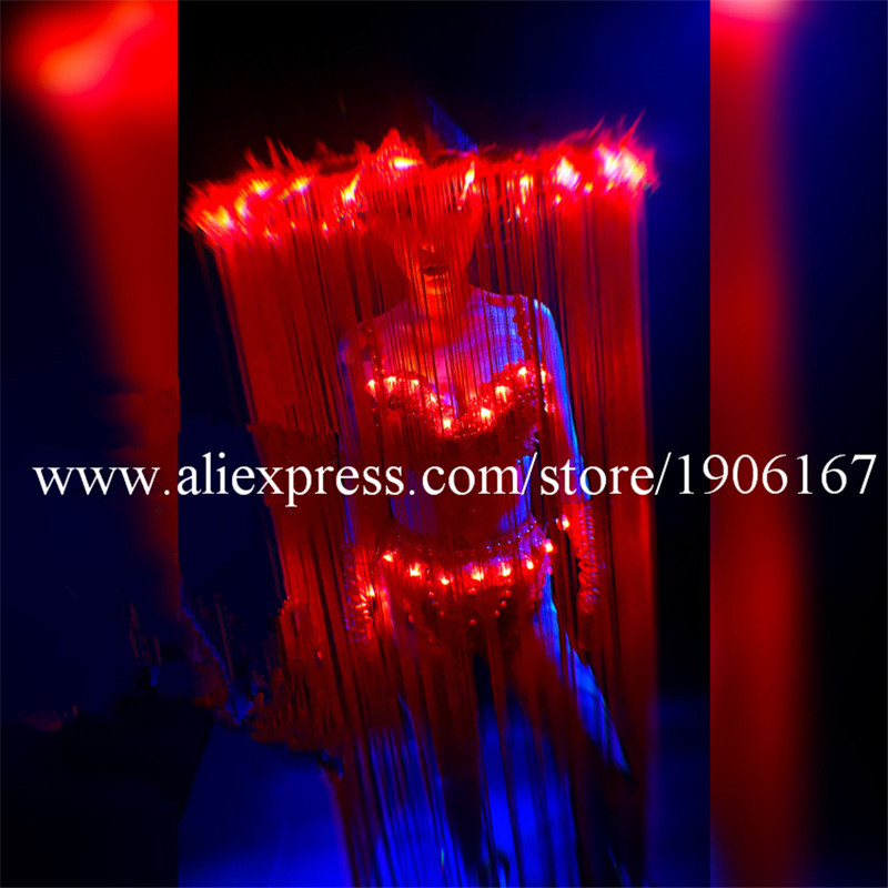 Nightclub GOGO female models Chinese style LED lights tassels red big hats Mid-Autumn National Day theme costumes3