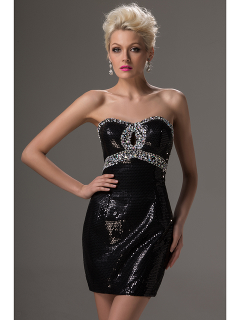 Sparkly Black Sequins Short Mini Cheap Homecoming Dresses Under 100 ...