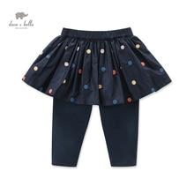 DB4010 дэйв белла осень девочка темно-синий карандаш брюки с юбкой девушки точки вышивка брюки с юбкой детей брюки