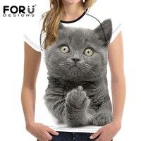 FORUDESIGNS Funny 3D Middle Finger Cat T Shirt Women O Neck Short Sleeve Crop Tops Tee