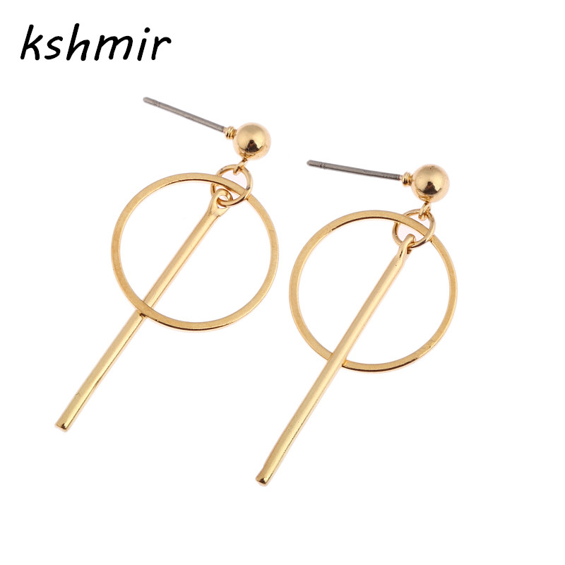 Golden earrings female minimalist geometric circular earrings contracted temperament earrings Long female stud earrings women