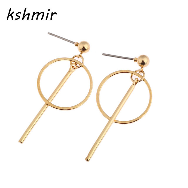 0d76cbcc5c560 US $0.69 30% OFF|Golden earrings female minimalist geometric circular  earrings contracted temperament earrings Long female stud earrings women-in  Stud ...