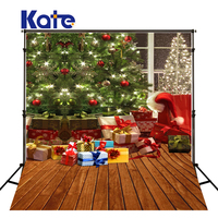 5X7Ft Kate Photography Backdrops Santa Hat Christmas Tree Fond Photographie Noel Wood Floor Children Christmas Photo Background