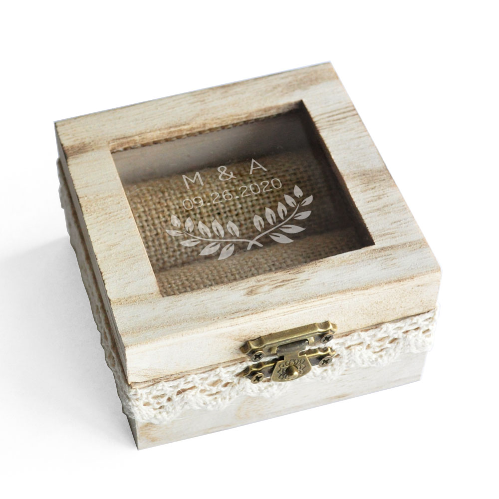 Boho wooden ring holder Wedding gift Rustic wedding ring bearer box ProposalEngagament jewelry box