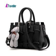 Neue Ankunft Mode Hohe Qualität PU Leder frauen Tasche Europäischen Und Amerikanischen Stil Plaid Bär Tasche Beiläufige Handtasche Mit bär