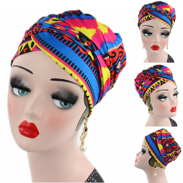Women New African Style Cotton Scarf Wrapped Head Turban Ladies Hair  Accessories Scarf Hat Headwrap Long 89d8a4108df