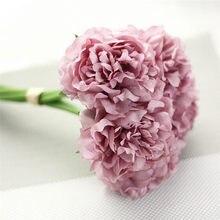 5 cabeças de seda artificial falso flores peônia floral casamento buquê nupcial hydrangea decoração casa may16 flor falsificação