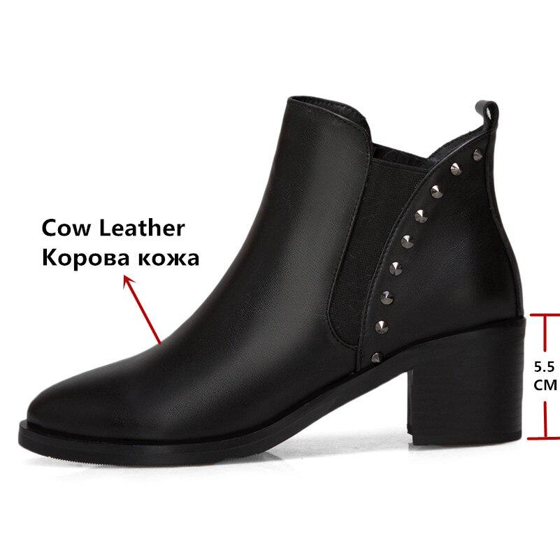 FEDONAS Mode Frauen Stiefeletten Aus Echtem Leder Herbst Winter Warm High Heels Schuhe Frau Partei Punk Niet Marke Damen Stiefel-in Knöchel-Boots aus Schuhe bei  Gruppe 3