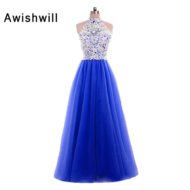 Real Pictures High Neck Lace Tulle Floor Length A-line Simple Long Prom Dresses Cheap 2019 Dress Party Occasion Custom Plus
