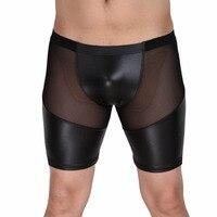 Nueva Llegada de La Manera de Cuero Patchwork Sexy Malla Estilo Semi Transparente Con Encanto Pantalones Casuales Cortos Loungewear Camisetas Interiores