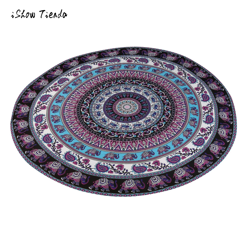 New Qualified Round Beach Pool Elephant Printed Home Shower Towel Blanket Table Cloth Soft Yoga Mat Hot Sale serviette de plage