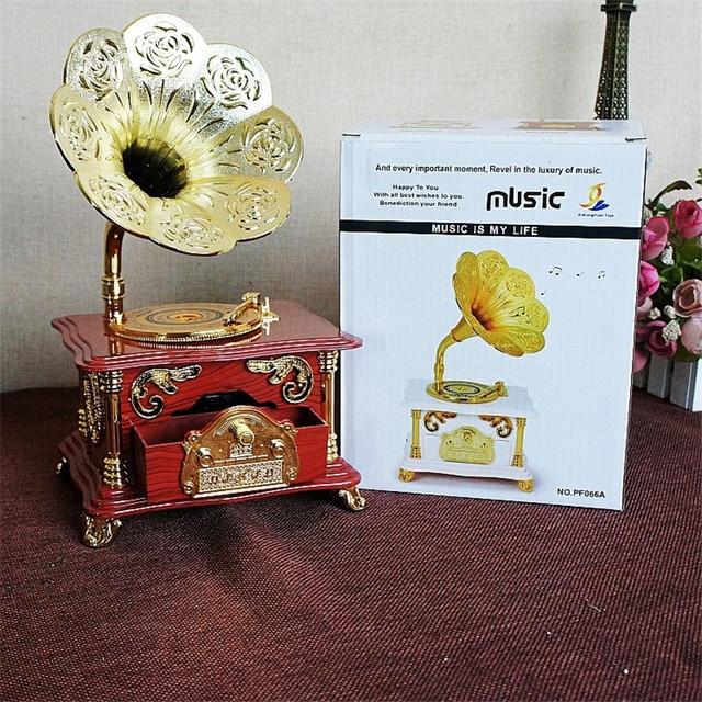 Wedding Jewelry Box Music Box DIY Vintage Red gramophone Movement
