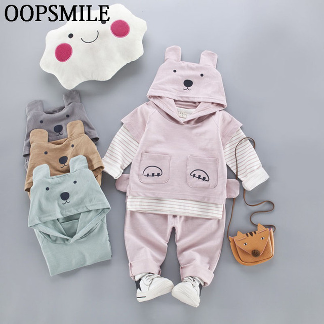 8f88284817802 2017 Spring Baby Girls Boys Clothing Sets Casual Cotton Long Sleeve T-shirt  +Cap coat+Trousers 3pcs overalls suits Baby clothes