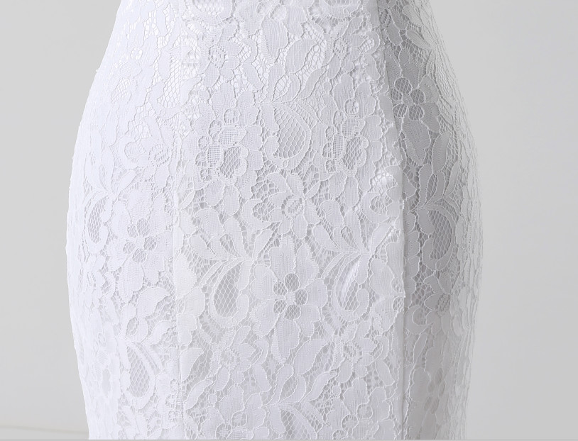 Lace Flowers Short Mermaid Wedding Dress