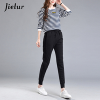 Casual Pants Female 2017 Spring Autumn New Skinny Harem Pants Solid Color Black Trousers For Women