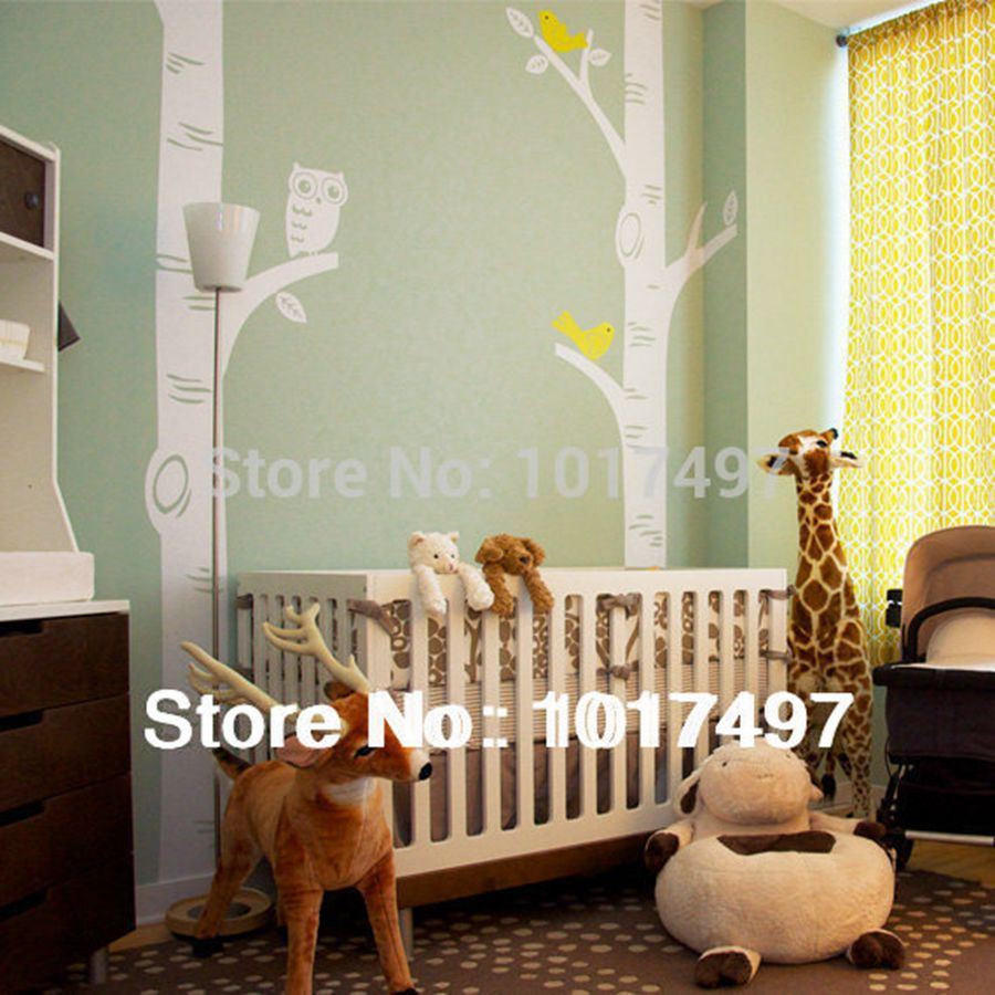 Free Shipping Oversized Birch Tree Wall Decals For Nursery Baby - Wall decals baby room