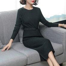 Black knitting Knitted dress winter woman sweater long sleeve autumn midi dresses clothing bodycon slim waist