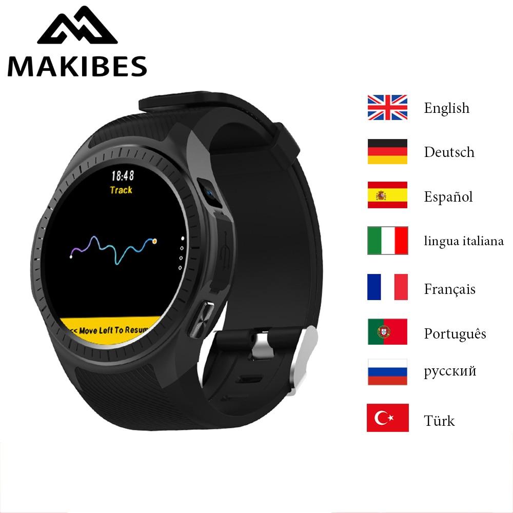 Makibes G05 Pro Smart Montre GPS Sport Montres 64 mb RAM 128 mb ROM Intégré Caméra de Fréquence Cardiaque Sang Pression prise en charge carte TF