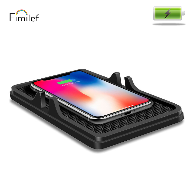 Fimilef Protable Car Wireless Charger Holder For Iphone X 8 7 6 6s Plus Universal Fast Charger Pad For Samsung Galaxy S9/S8 Plus