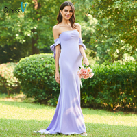 Dressv purple sample a line bridesmaid dress strapless button mermaid wedding party women floor length trumpet bridesmaid dress