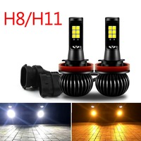 Areyourshop Car 2X 160W H8 H11 Car LED Fog Driving Light Bulbs White + Yellow Dual Color 2600LM 12 V Car Styling Lighting