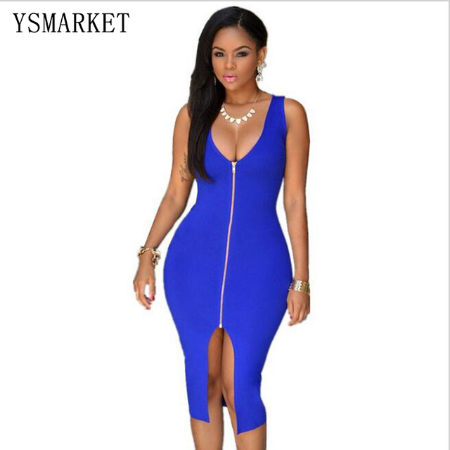 45a01bcbcc Plus Size Plunging V Neck Zipper Front Midi Women Summer Dress Bodycon Sleeveless  Sexy Hot Sale Deep V-neck Sexy Club Dress
