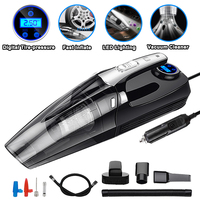 4 in 1 Car Portable Wet/Dry Auto Vacuum Cleaner 12V 120W 4000mPA with Smart Digital Tire Inflator Pump Pressure Gauge LED Light