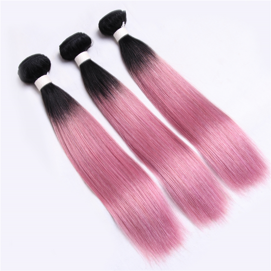 Piaoyi Brazilian Straight Human Hair Bundles Closure Non-Remy OT Rose Pink Color 3 Bundles Hair Weaves With Lace Closure