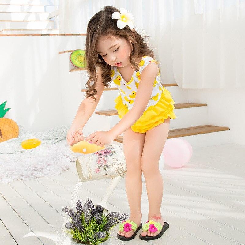 Girls Bathing Suit Yellow Cute Duck Kid Girl Swimwear Children One pieces Lovely Cupcake Skirt Girl Swimsuit kids Girl Swimwear