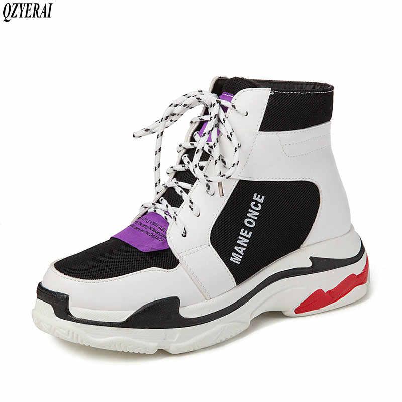 QZYERAI 2018 autunno inverno nuovo stile caldo delle donne stivali in pelle lace-up delle donne stivali moda per il tempo libero di stile caldo delle donne scarpe