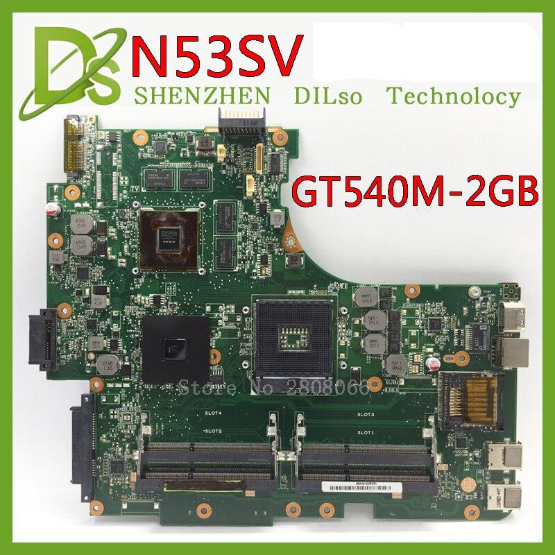 KEFU N53SV For ASUS N53SV N53SM N53S Laptop Motherboard N53sv N53s Motherboard GT540M 2GB Video Memory Test Original
