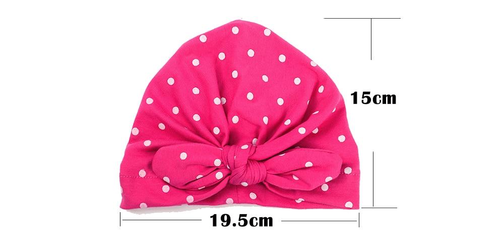 2019 New Baby Cotton Caps Sweet Cute With Bow Dot Turban Cap Boys ... 03e192c64365