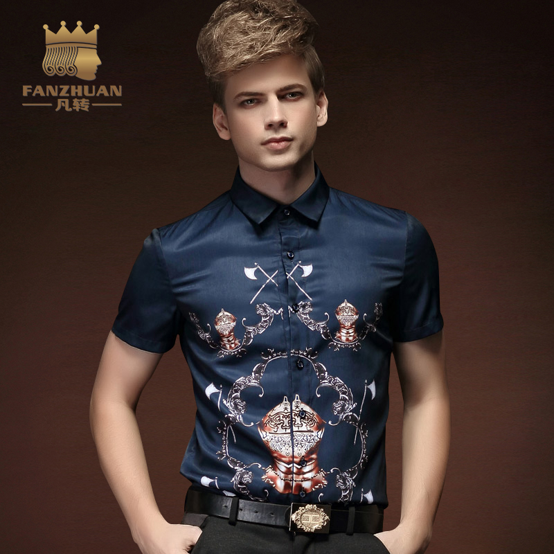 00b1311eb5e FANZHUAN Featured Brands New Summer Men Shirt Fashion Mens Short Sleeve  Shirt Pattern Printing Casual Floral