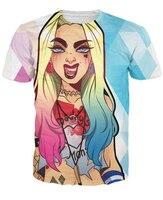 Harley Quinn T Shirt Sexy Tee Cartoon Character 3d Print Women Funny Summer T Shirt Outwear
