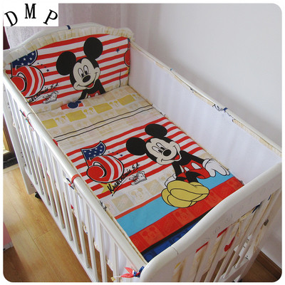 Promotion! 5PCS Mesh curtain crib bedding bumper baby cotton sets baby bed arround bumper Cot Set,include(4bumpers+sheet)