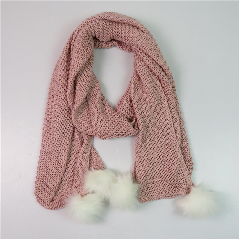 Winter Knitted Scarf For Women White Pom Pom Faux Fur Ball Design