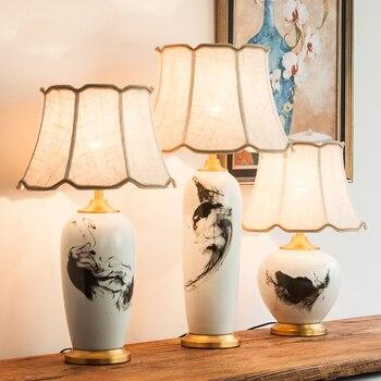 Keramische Tafellamp Moderne Chinese Inkt Schilderij Creatieve Koper Decoratie Lamp Woonkamer Slaapkamer Hotel Nachtkastje Lamp