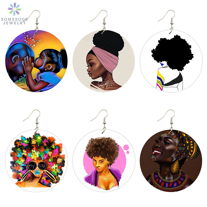 SOMESOOR Afro Natural Hair Painted Wood Drop Earrings Lovely Baby Headwrap Woman African Queen Black Soul Art Printable Jewelry in Drop Earrings from Jewelry Accessories