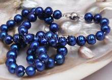 "Jewelry Pearl Necklace Fashion 8-9mm Real Blue akoya cultured pearl necklace 17"" Free Shipping(China)"
