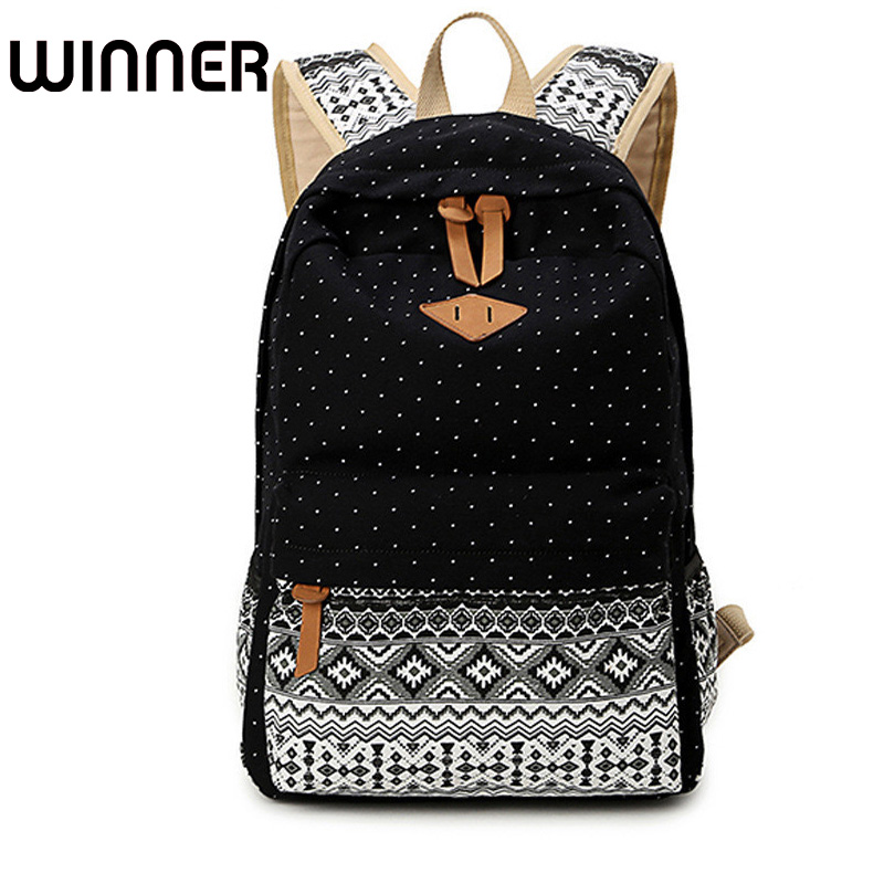 Canvas Printing Women Backpack Vintage Bookbag Laptop Rucksack Female Student Bagpack School Bag for Teenage Girls