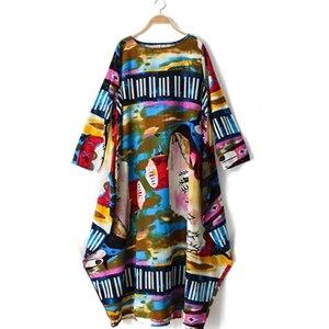 Image 5 - Johnature 2020 New Print Women Maxi Dress Cotton Linen Long Sleeve Robe O Neck Loose Plus Size Long Spring Loose Dress