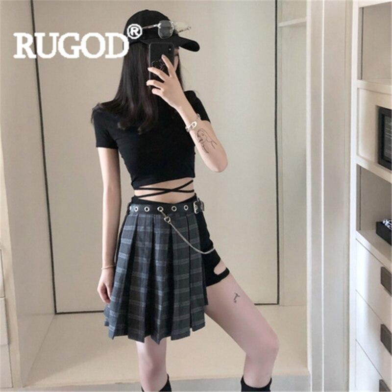 RUGOD Women Solid T-shirt Sexy Shorts Plaid Irregular Skirt Chain Belt High Waist 2019 New Summer Fashion Female Girl Mini Skit